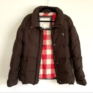 Abercrombie Brown and Flannel Puffer Jacket